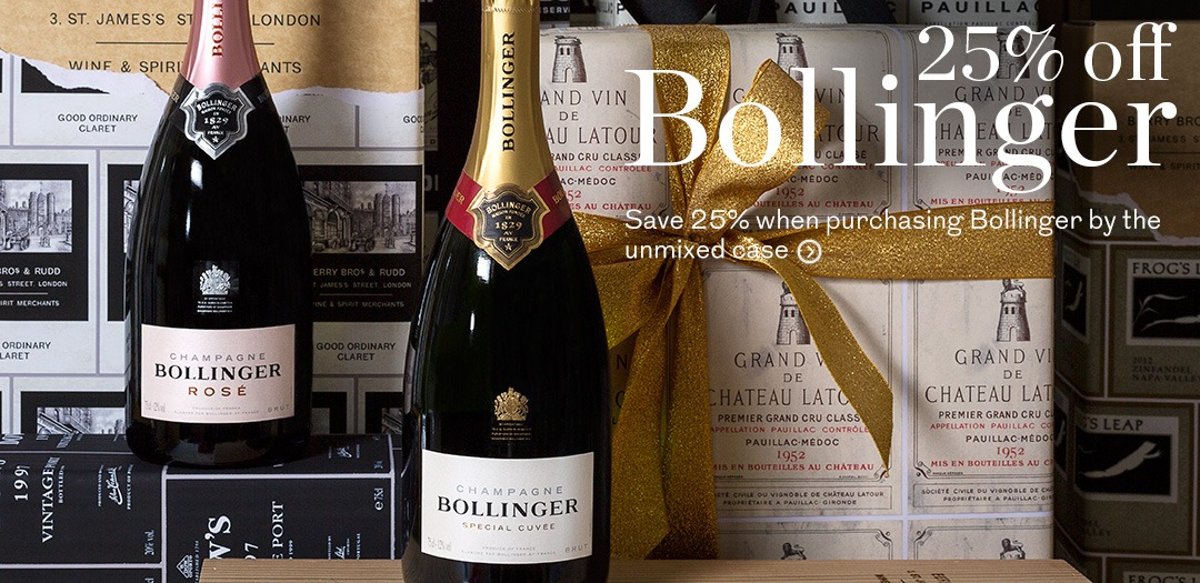 25pc off Bollinger Champagne